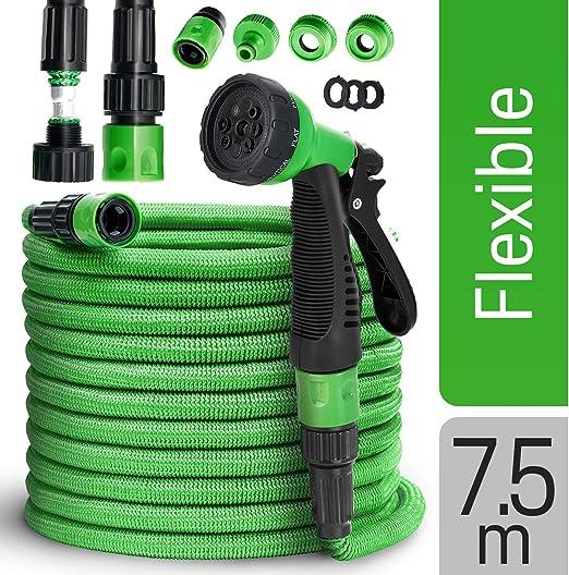 tillvex Manguera Flexible de Jardín 7, 5-30 m Extendida | Manguera para Riego | 9 Patrones de Pulverización | Extensible | Color Verde (7, 5m, Verde): Amazon.es: Jardín