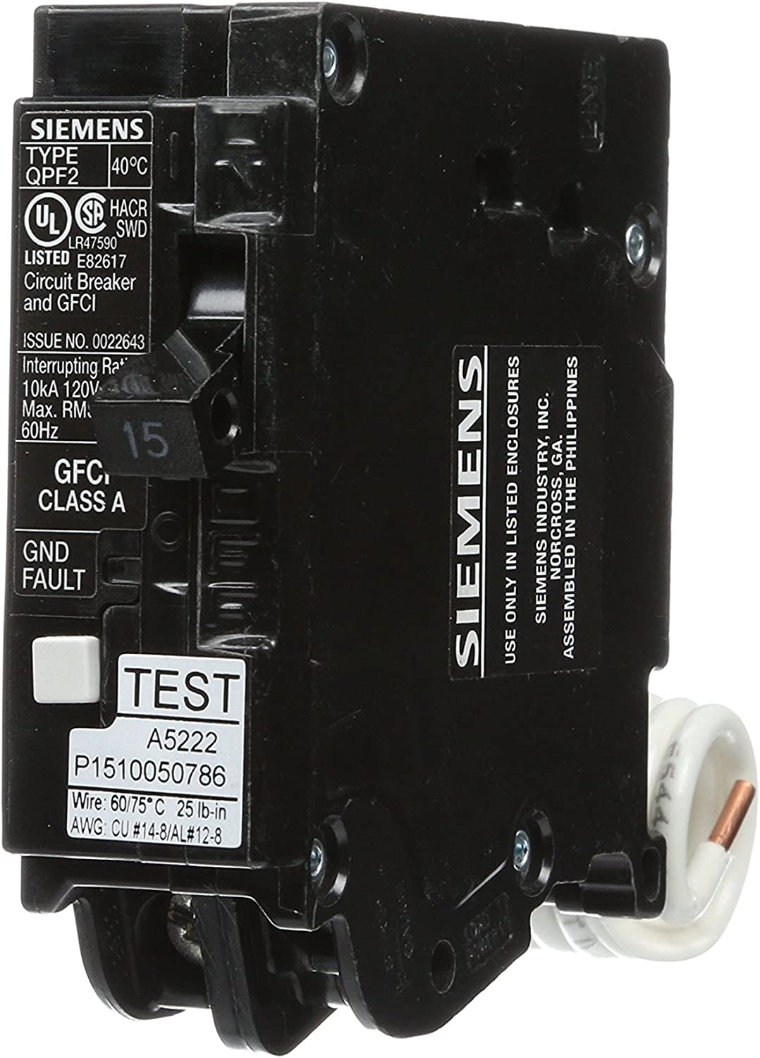 Siemens QF115A Ground Fault Circuit Interrupter, 15 Amp, 1 Pole, 120V, 10,000 AIC