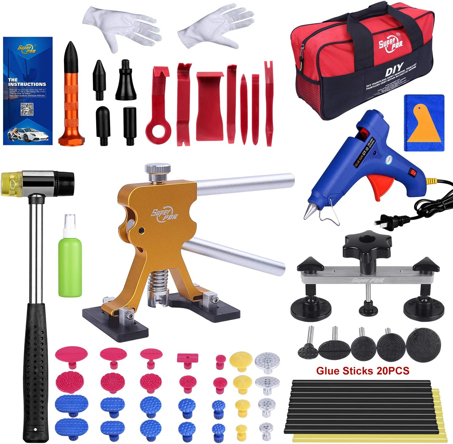 Amazon Com Paintless Dent Trims Removal Tools Diy Dent Remover For Hail Dent Car Door Dent Ding Motorcycle Tank Dent 70pcs Pro Auto Dent Puller Kit With 28pcs Of Dent Pull Taps