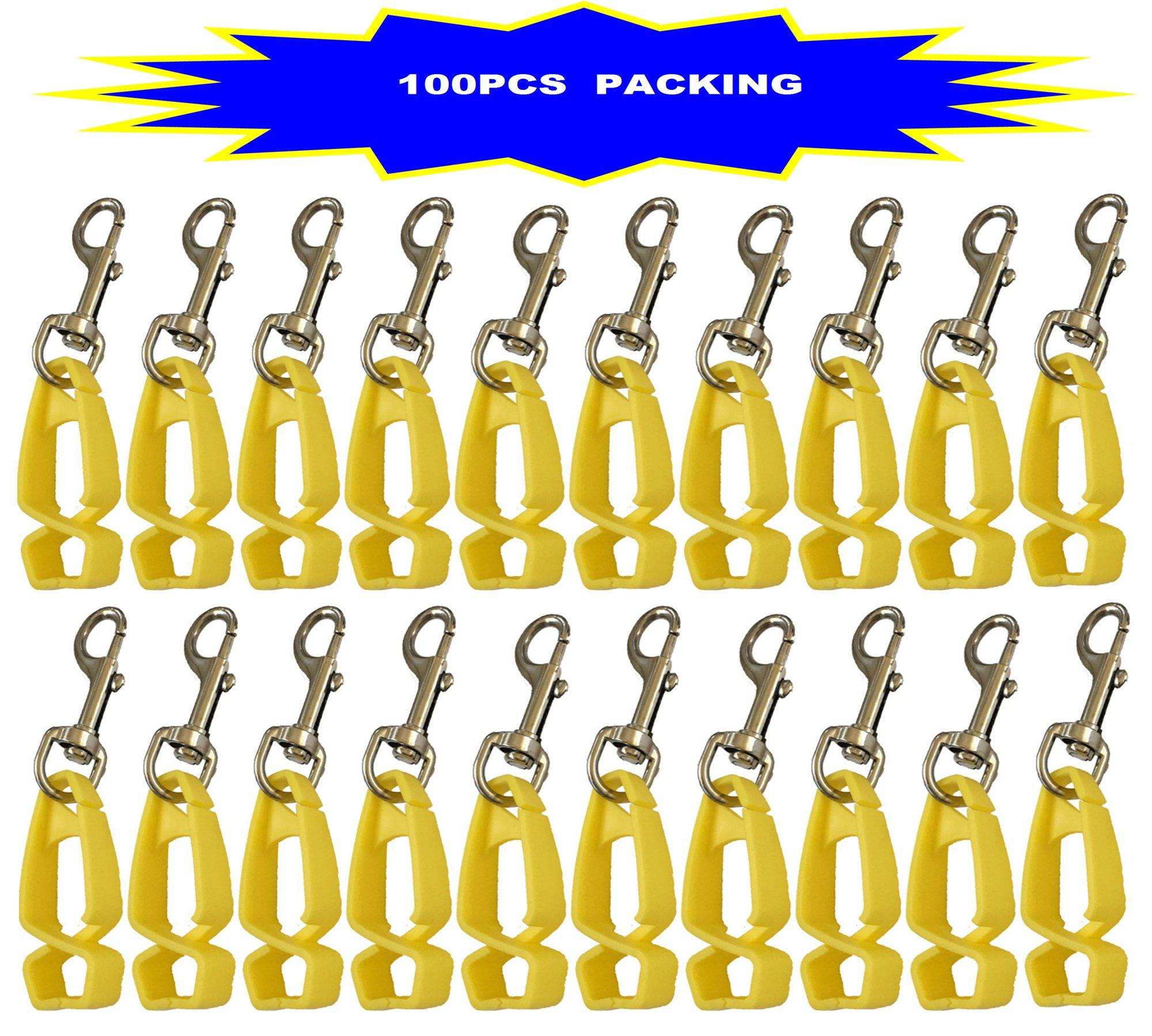 100Pcs Pack AT07-100Y Yellow Sino-Max Glove Clip,Glove Grabber Holder Work Safety Breakaway Safety Gear Belt Loop, Belt Clip Glove Keeper, Neon POM, Reduce Hand Injury, Attach Gloves, Towels, Glasses by Sinomax (Image #1)