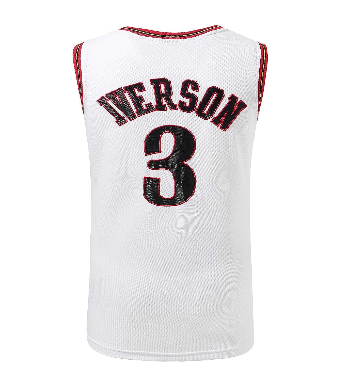 Camiseta Basdy Allen Iverson NO.3 Jersey de Baloncesto Masculino Traje de Uniforme de Philadelphia 76ers Camiseta de Baloncesto Masculino