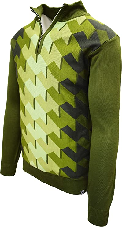 Men's Vintage Sweaters, Retro Jumpers 1920s to 1980s STACY ADAMS Men's Sweater Ombre Geometric Front Design $44.00 AT vintagedancer.com