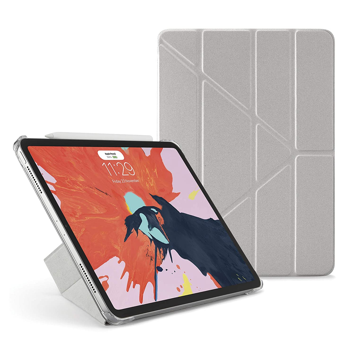 amazon com pipetto premium smooth ultra slim smart case shell coverpipetto premium smooth ultra slim smart case shell cover apple pencil gen 2 sync and charge compatible for ipad pro 11 (2018) model 5 in 1 folding positions