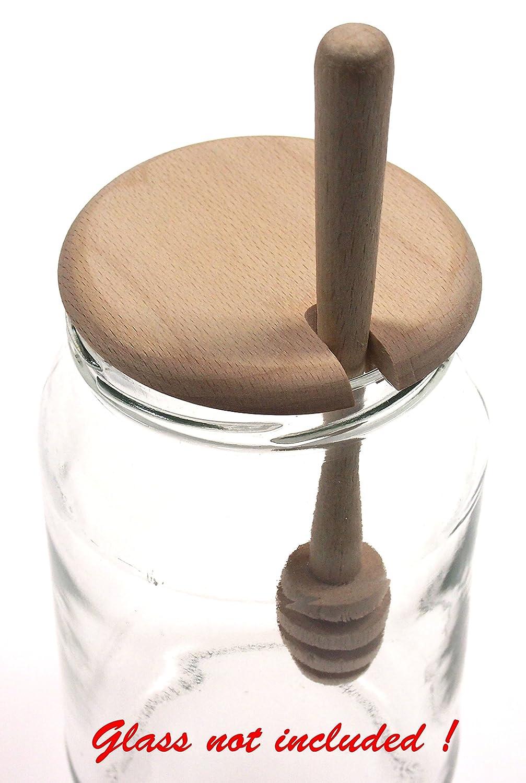 Couvercle de pot /à miel en bois avec cuill/ère//fouet /à miel en bois