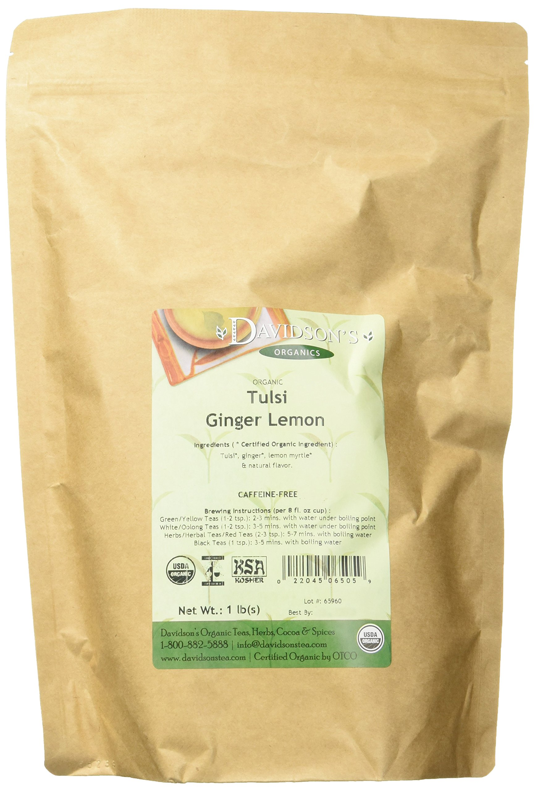 Davidson's Tea Bulk, Tulsi Ginger Lemon, 16-Ounce Bag