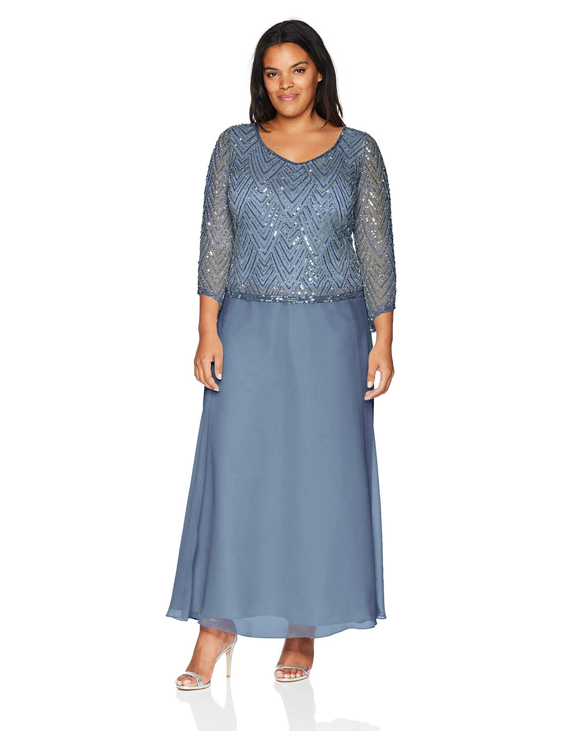J Kara Women's Plus Size Scoop Neck 3/4 Sleeve Beaded Dress, Dusty Blue/Blue/Silver, 22W