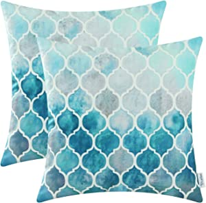 CaliTime Pack of 2 Cozy Throw Pillow Cases Covers for Couch Bed Sofa Manual Hand Painted Colorful Geometric Trellis Chain Print 18 X 18 Inches Main Grey Teal