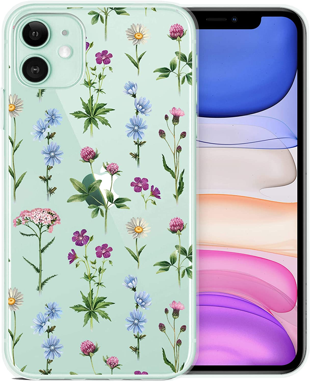 RicHyun Clear iPhone 11 Case with Screen Protector, Blooming Flowers Desingn Plastic Hard Back Case with Soft TPU Protective Bumper for Women Girls