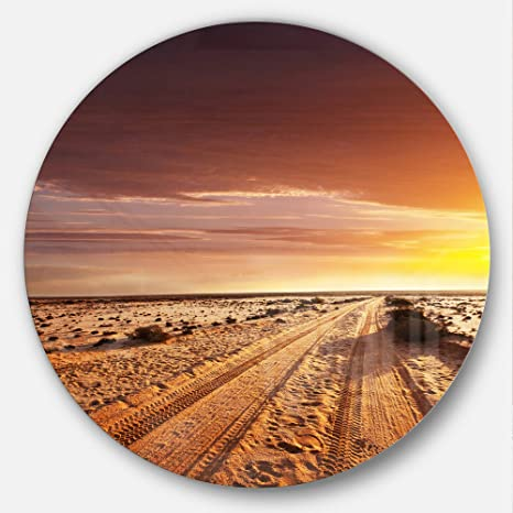 Amazon Com Designart Offroad In Desert At Sunset Modern Landscape Large Metal Wall Art Disc Of 23 Inch 23 H X 23 W X 1 D 1p Beige Home Kitchen