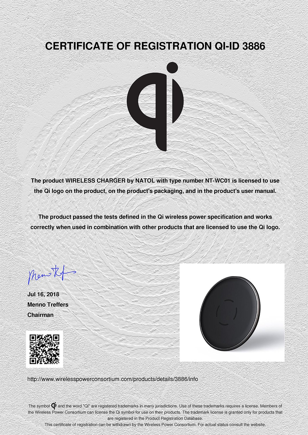 NATOL Wireless Charger, Qi-Certified Wireless Charging Pad for Samsung Galaxy S9Plus/S9/S8/ Note 8/ S7, iPhone X/8/8 Plus, Other Qi-Enabled Devices