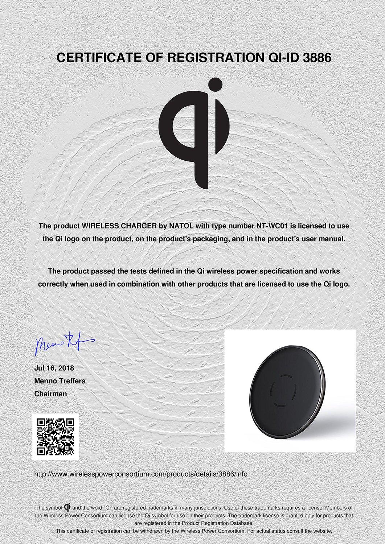 NATOL 10W Wireless Charger, Qi-Zertifiziert Kabelloses Ladegerät, Schnelles Kabelloses Laden mit Lade-Pad für Samsung Galaxy Note 8/S8/S8 Plus, S7/S7 Edge und Schnelles Kabelloses Laden für iPhone X/8/8 Plus und Weitere Qi-fähige Geräte (Mi