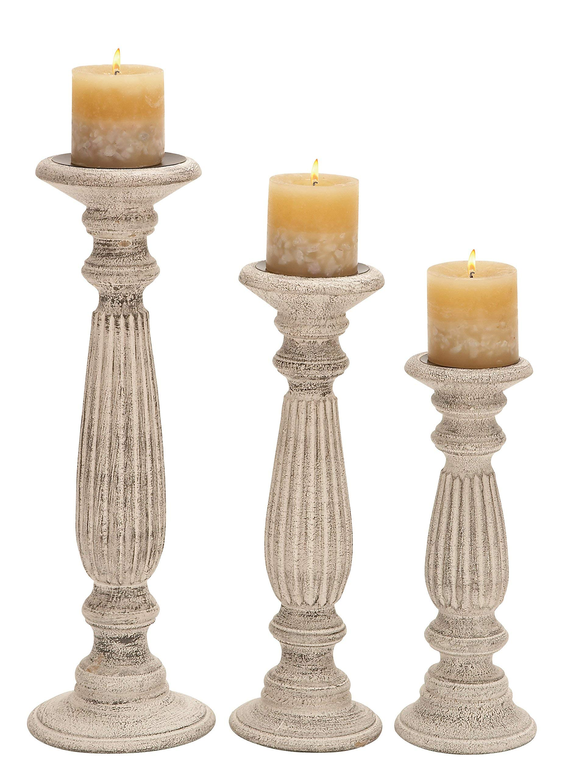 Deco 79 Wood Candle Holder, White, 18 by 15 by 12-Inch by Deco 79 (Image #1)