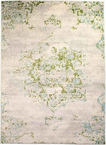 Super Area Rugs Dissolving Traditional Medallion Rug, Ivory, 2 7 x 7 6