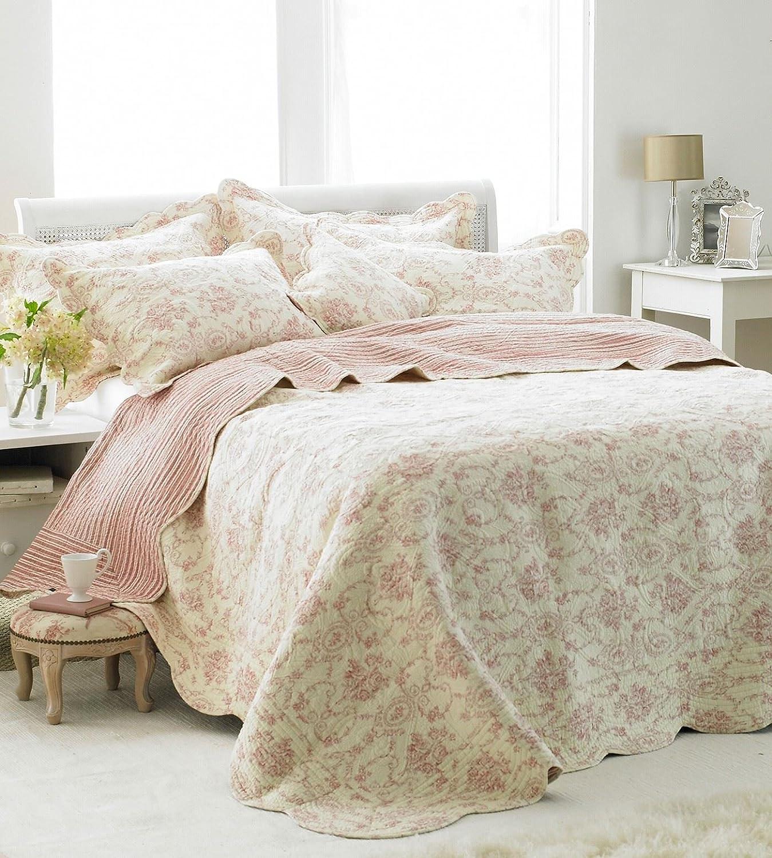 Etoille Doppelbett Tagesdecke leicht Bestickt mit Muster, 240 x 260 cm, cremefarben Rosa
