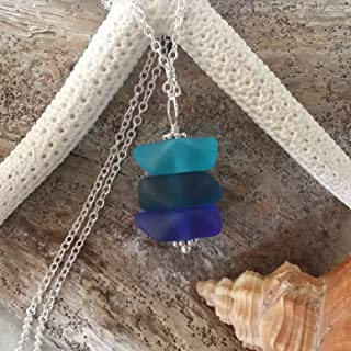 """product image for Handmade""""Blue Hawaii"""" sea glass necklace, (Hawaii Gift Wrapped, Customizable Gift Message)"""