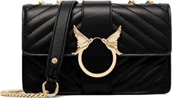 Women Fashion Shoulder Bag Genuine Leather Clutch Handbag Quilted Crossbody Bag with Chain