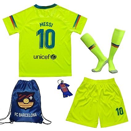 brand new cdf1d db984 BIRDBOX Youth Sportswear Barcelona Leo Messi 10 Kids Away Soccer  Jersey/Shorts Bag Keychain Football Socks Set