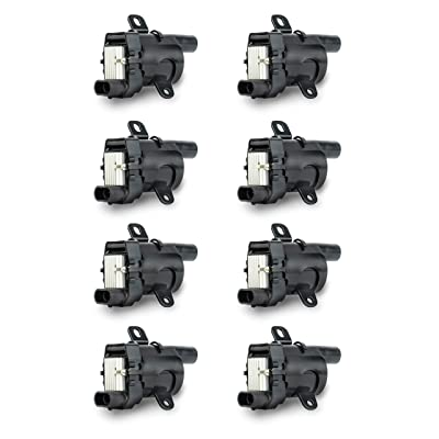 Ignition Coil Pack Set of 8 - Fits V8 Chevy Silverado 1500, 2500, Tahoe, Suburban GMC Sierra, Savana, Yukon, XL 1500, 2500 and more - Replaces 12563293, D585, C1251, 19005218, UF262, GN10119, 10457730: Automotive