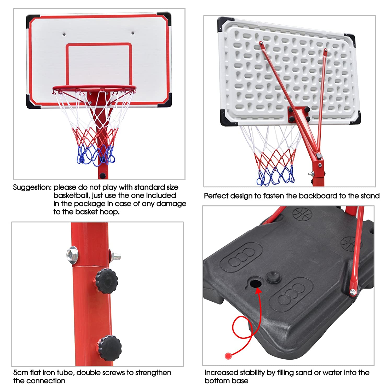 Wheels Youth Kids Beyondfashion Portable Kids Basketball Stand Backboard Hoop Net Set Adjustable 1.7m-2.16m