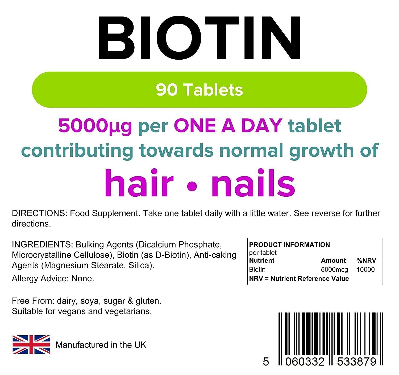 Lindens Biotina 5 mg en comprimidos | 90 Paquete | Crecimiento del cabello, uñas fortalecidas, piel brillante para mujeres y hombres con cada ración de 100x ...