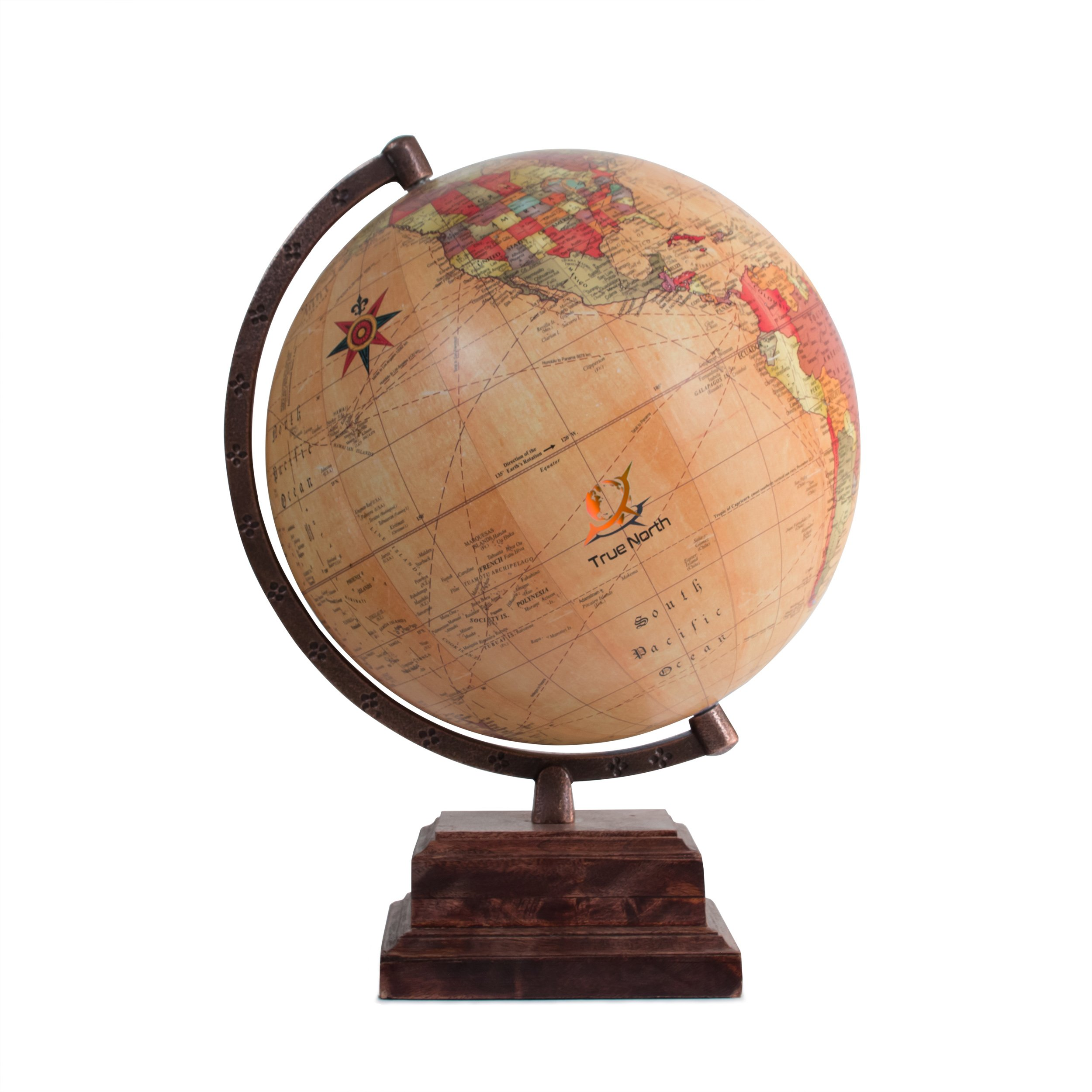 "True North World Globe with Strong, Heavy Duty Stand – Large 12"" Antique Finish Desktop Earth – Decorative and Educational for Kids"