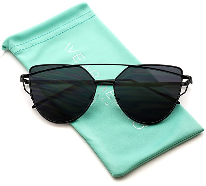 6f25471c21f3 WearMe Pro - Elegant Street Fashion Metal Frame Women Mirror Cat Eye  Sunglasses (Black Frame