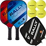 Rally Flare Graphite Pickleball Paddle   2 Player Pack with Pickleballs and Paddle Covers   Polymer Honeycomb Core, Graphite