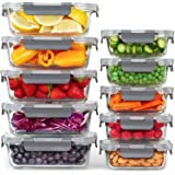 Glass Meal Prep Containers, [10 Pack] Glass Food Storage Containers with Lids, Airtight Glass, BPA Free & Leak Proof (10…