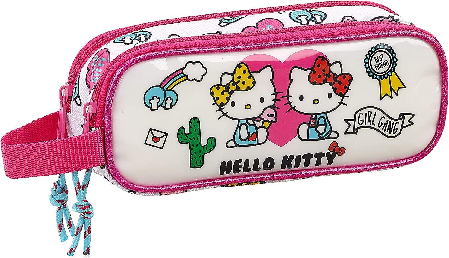 Hello Kitty Estuche Portatodo Doble 2 Cremalleras Escolar, 21 cm, Rosa/Blanco: Amazon.es: Equipaje