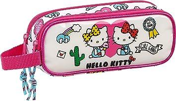 Hello Kitty Estuche Portatodo Doble 2 Cremalleras Escolar, 21 cm, Rosa/Blanco: Amazon.es: Equipaje