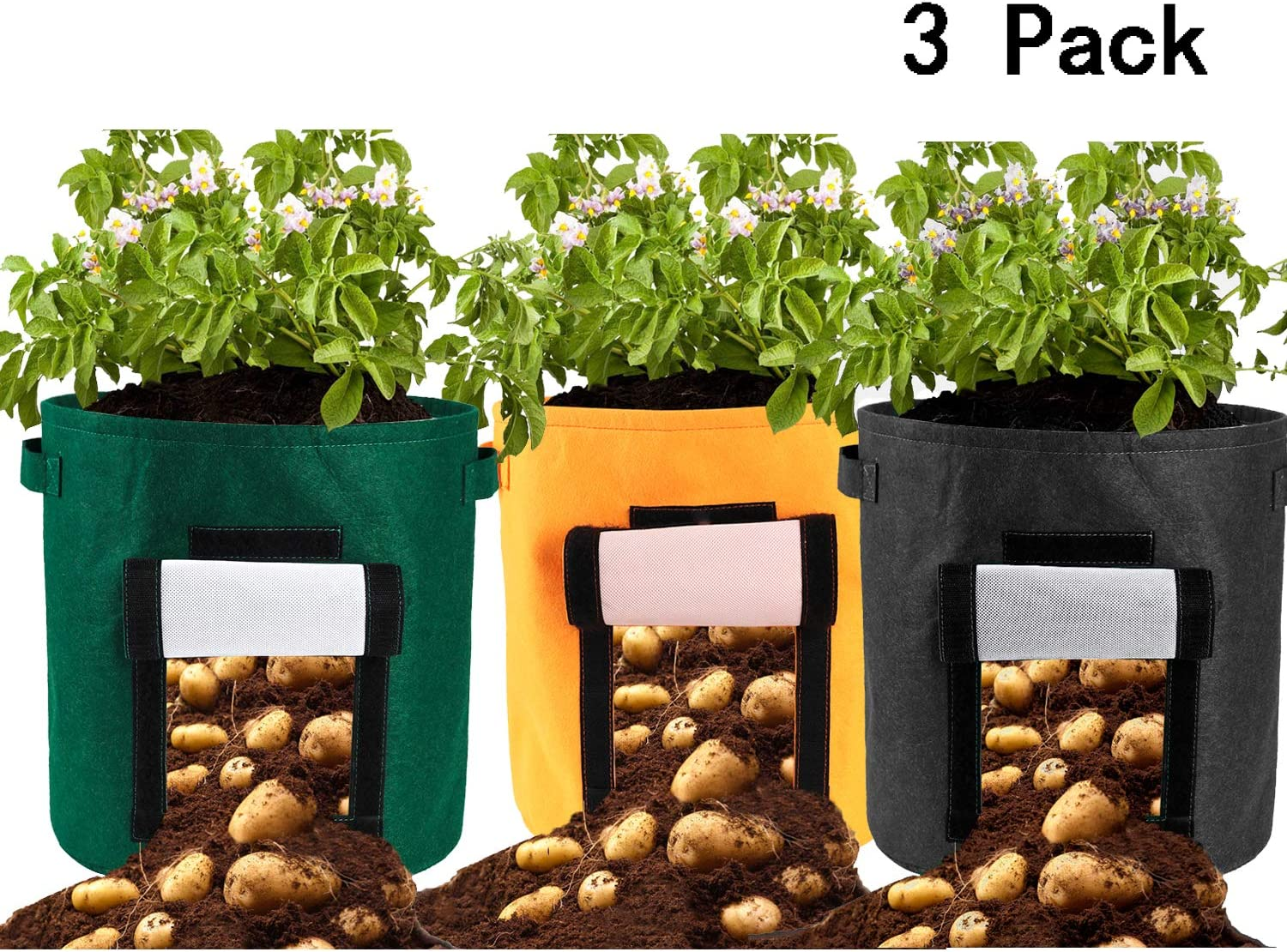 Alapaste 3 Pack Grow Bag 15 Gallon Potato Plant Grow Container Felt Waterproof Garden Planter Bag with Handles for Grow Multi-Species Vegetables Carrot,Tomato