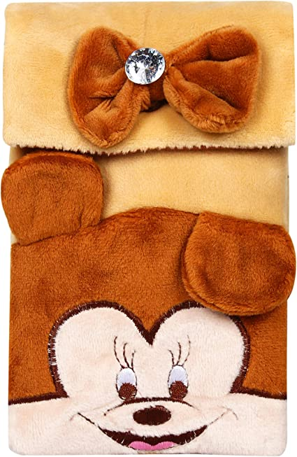 CREATURE Hello Kitty Mickey Mouse Soft Velvet Brown Color Sling Bag | Carton Character Brown Color Sling Pouch | Brown Color Universal Pouch(HKP) (Brown)