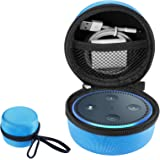Amazon Echo Dot ケース アマゾンエコー ドット カバー 収納バッグ オックスフォード製 耐衝撃 落下防止 キズ防止 全面保護 USBケーブルと充電器の収納可能 シンプル キャリングケース ストラップ&カラビナ付き (青)