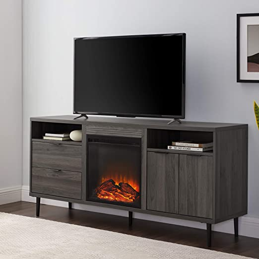 Amazon Com Walker Edison Modern Wood Fireplace Stand With Cabinet Doors And Drawers 65 Flat Screen Universal Tv Console Living Room Storage Shelves Entertainment Center 60 Inch Slate Grey Furniture Decor