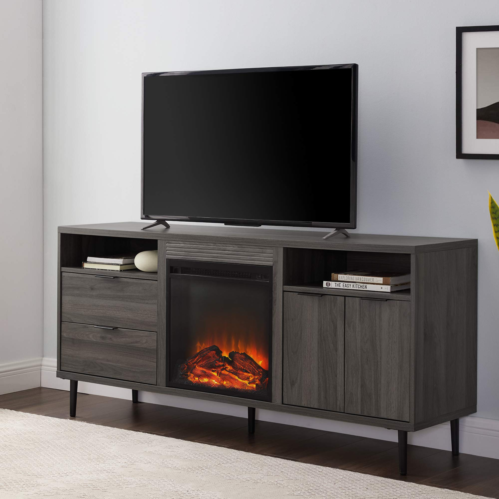 WE Furniture Modern 2-Drawer Fireplace TV stand with Cabinet Storage, 60'', Slate Grey by WE Furniture