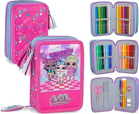 Lol Surprise 93524 - Estuche triple relleno, 44 accesorios escolares, 20 centímetros: Amazon.es: Oficina y papelería