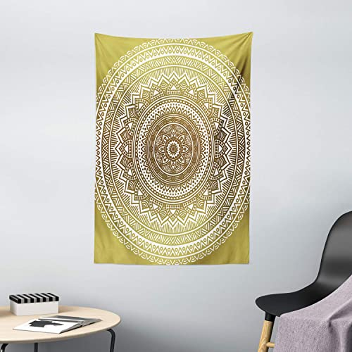 Ambesonne Mandala Tapestry, Ombre Mandala Flower Pattern Queen Inspired Prints Hippie Design, Wall Hanging for Bedroom Living Room Dorm Decor, 40 X 60 , Mustard and White