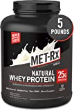 MET-Rx Natural Whey Protein Powder, Vanilla, 5 lb, Easy Mix Protein Powder, 23 g Protein, 5g BCAAs from Ultra Filtered Whey Protein, for Pre/Post Workout, Gluten Free, With Vitamin D and Vitamin C