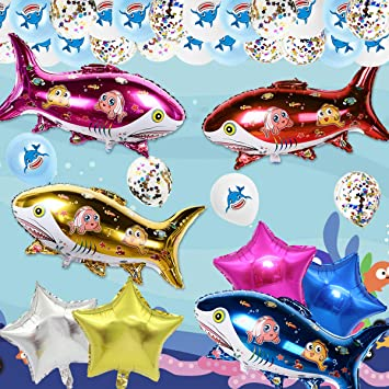 JOYMEMO 28 Piezas de Globos de tiburón Ocean Baby Cute Shark Party Decoration for Birthday Baby