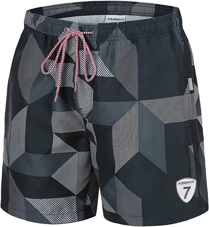One Nice Mens Swim Trunks Quick Dry Bathing Suit Beach Shorts with Mesh Lining Elastic Waistband
