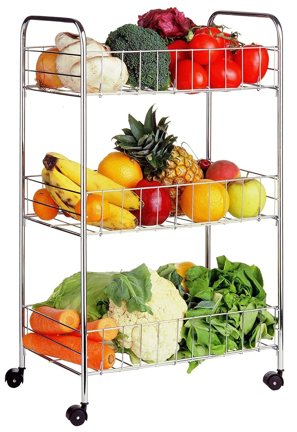 3 TIER CHROME FRUIT VEGETABLE RACK WHEELS STORAGE STAND CART TROLLEY KITCHEN electronicWorld