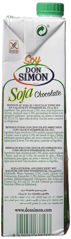 Don Simon Bebida de Soja con Chocolate - Paquete de 12 x 1000 ml - Total: 12000 ml: Amazon.es: Amazon Pantry