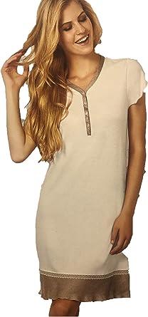 Camisa de noche de puro algodón Made in Italy con inserto de satén crema 46: Amazon.es: Ropa y accesorios