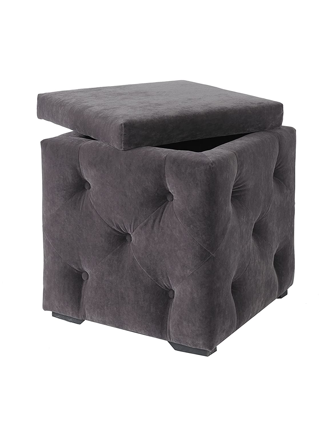 DOWNTON INTERIORS Vintage Style Dark Grey Upholstered Fabric Button Storage Box Stool with Black Legs (LVALENCHARBOX) **Full Range of Matching DOLCE Furniture is Available **