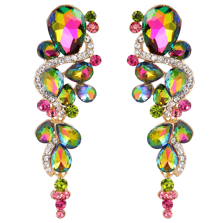BriLove Women's Bohemian Boho Crystal Wedding Bridal Multiple Teardrop Chandelier Long Dangle Earrings 12001265-11