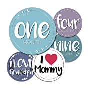 Baby Monthly Milestone Stickers - 24 Adorable Belly Stickers for Boys or Girls in Their First Year. Capture Loving Memories for a Scrapbook or Track Their Achievements from 1-12 Months
