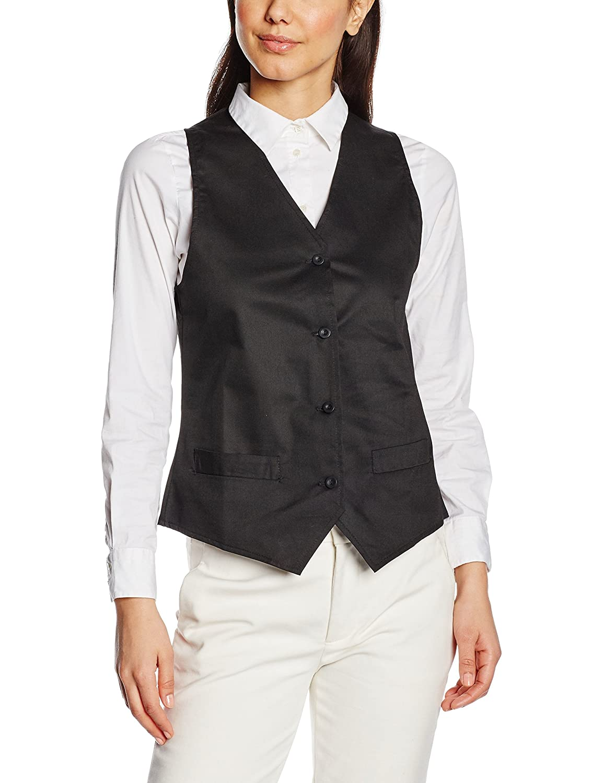 Premier Workwear Ladies Hospitality Waistcoat, Gilet Donna, Nero (Black), XX-Large PR621MBLKXXL
