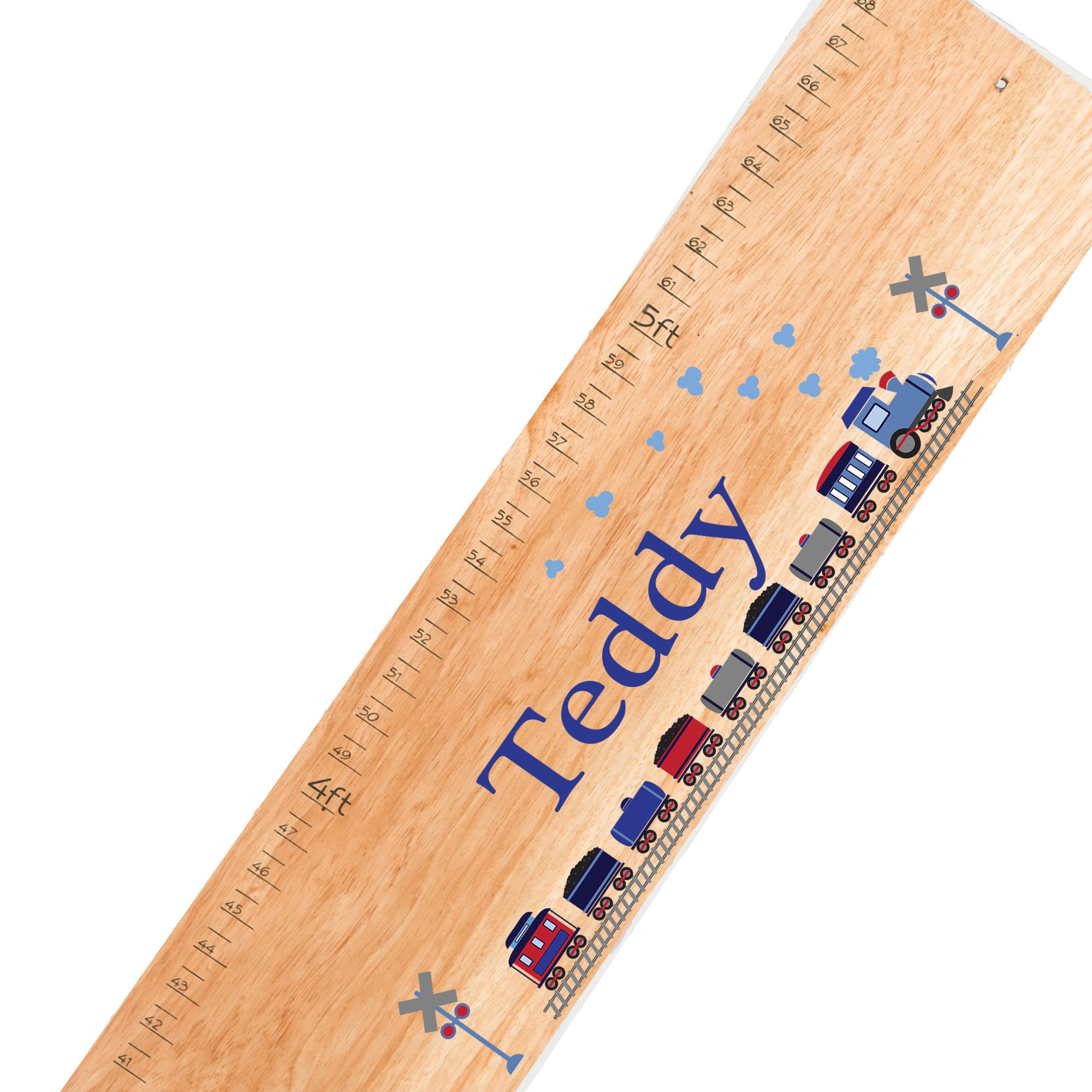 Personalized natural Train childrens wooden growth chart