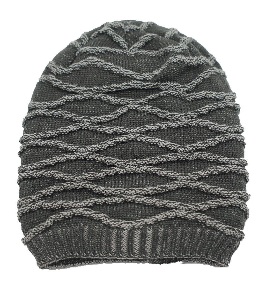 de1eb0743d0 LLmoway Men Women Slouchy Cable Knit Beanie Oversized Winter Chunky Warm  Stylish Baggy Hat Gray
