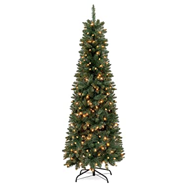 Best Choice Products 7.5ft Pre-Lit Hinged Fir Artificial Pencil Christmas Tree with 350 Warm White Lights, Foldable Stand, Green